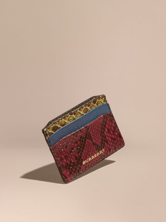 Colour Block Snakeskin and Leather Card Case Peacock Blue