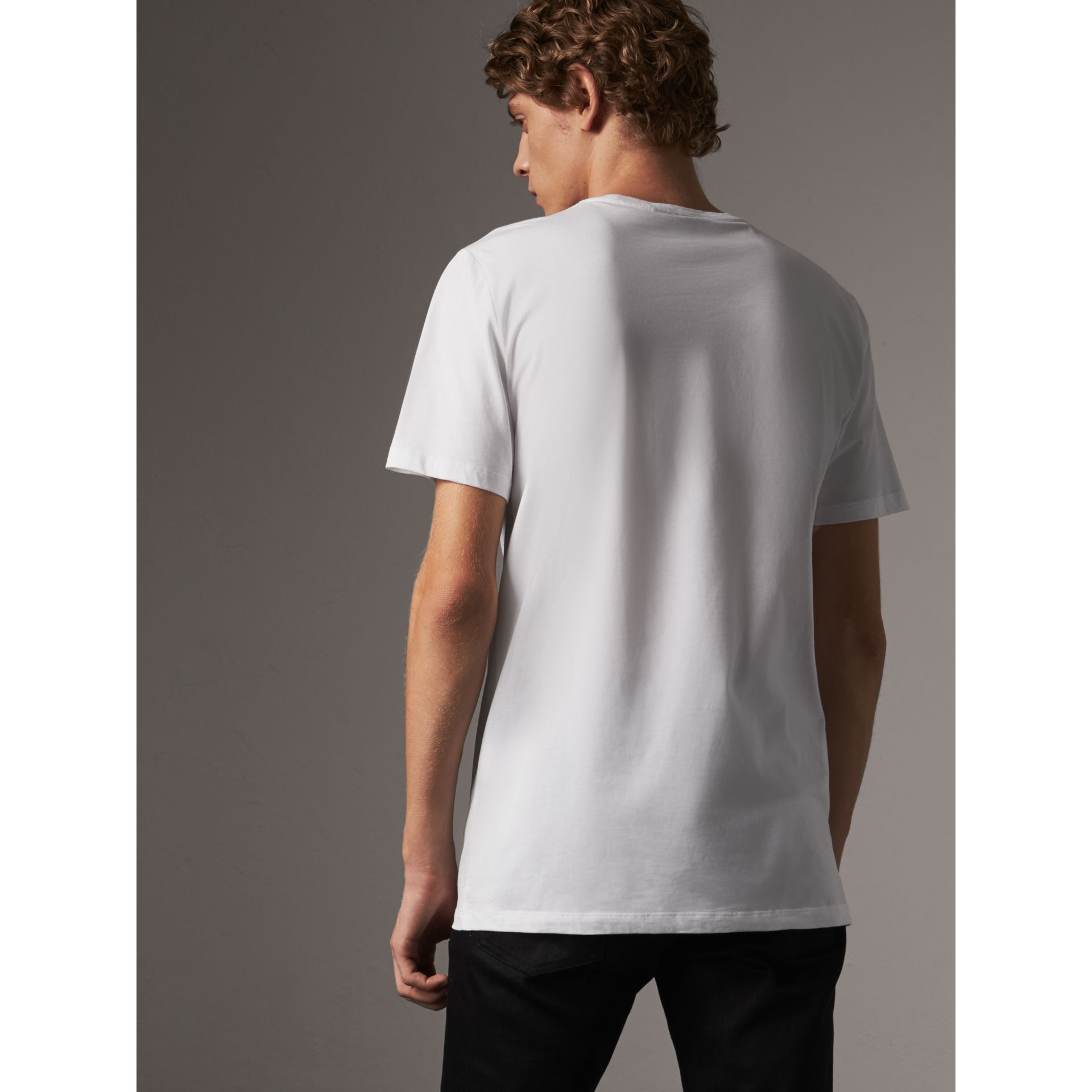Rope Embroidered Pocket Cotton T-shirt in White - Men | Burberry - gallery image 3