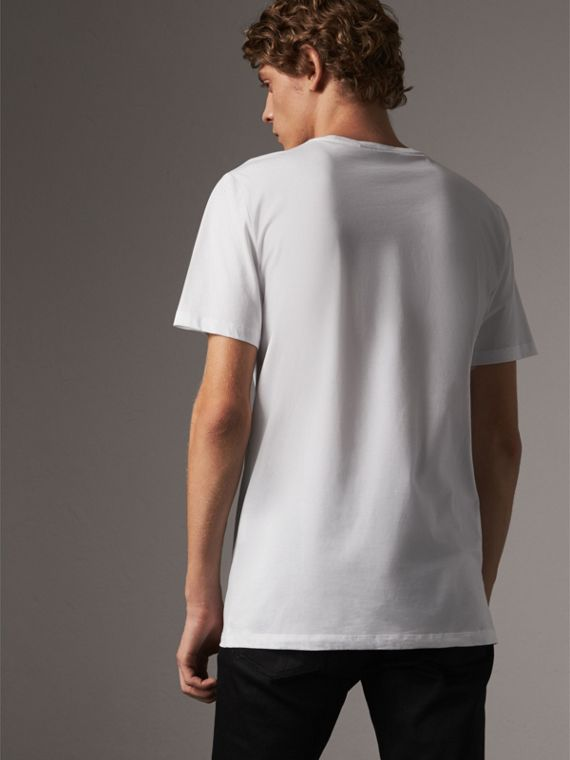 Rope Embroidered Pocket Cotton T-shirt in White - Men | Burberry - cell image 2