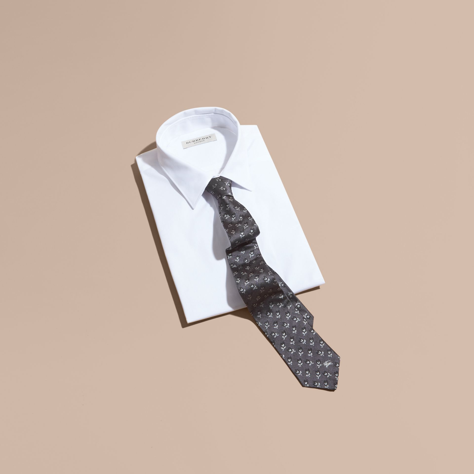 Modern Cut Floral Silk Jacquard Tie in Steel - Men | Burberry - gallery image 4