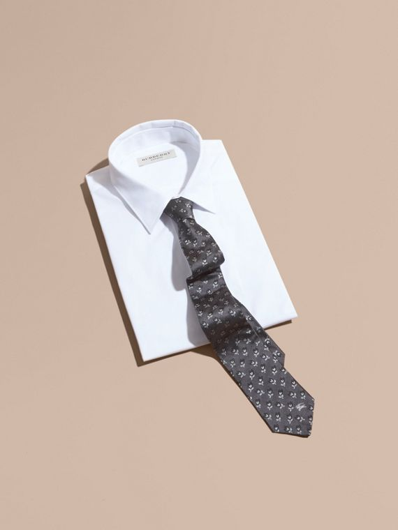 Modern Cut Floral Silk Jacquard Tie in Steel - Men | Burberry - cell image 3