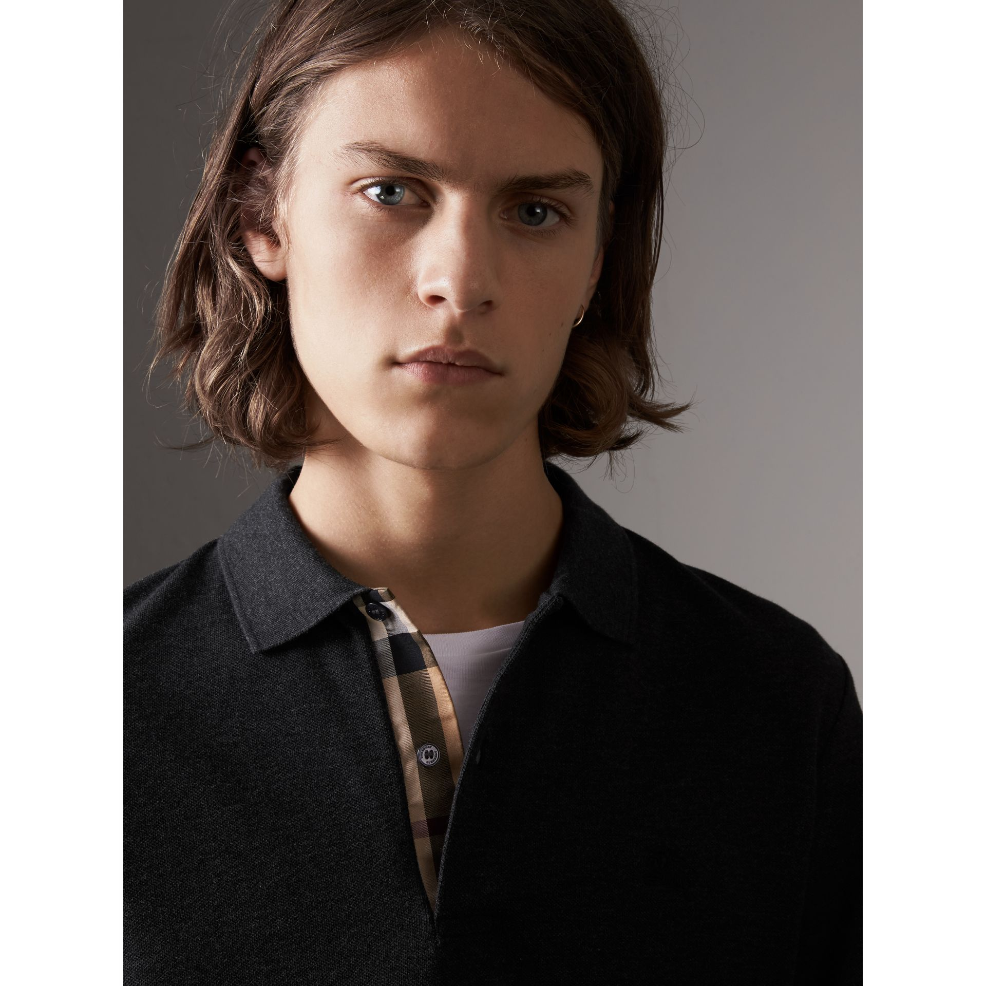 Check Placket Long Sleeve Polo Shirt in Dark Charcoal Melange - Men | Burberry - gallery image 1