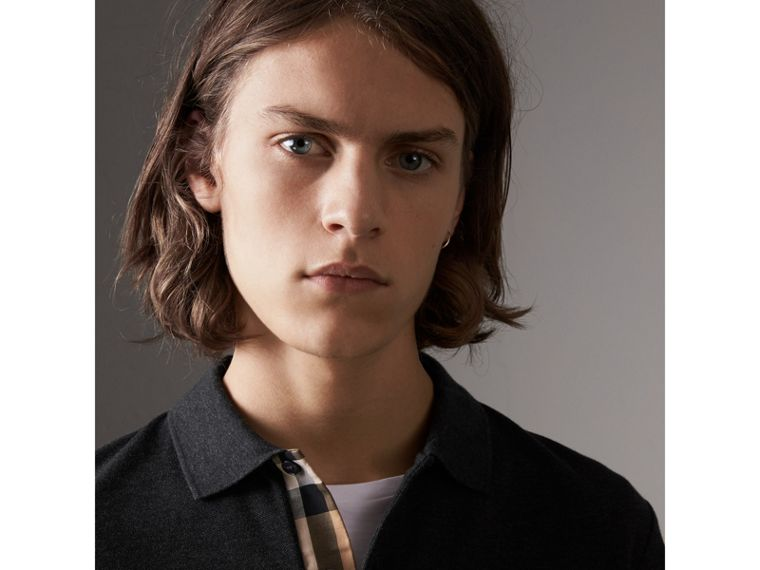 Check Placket Long Sleeve Polo Shirt in Dark Charcoal Melange - Men | Burberry Australia - cell image 1