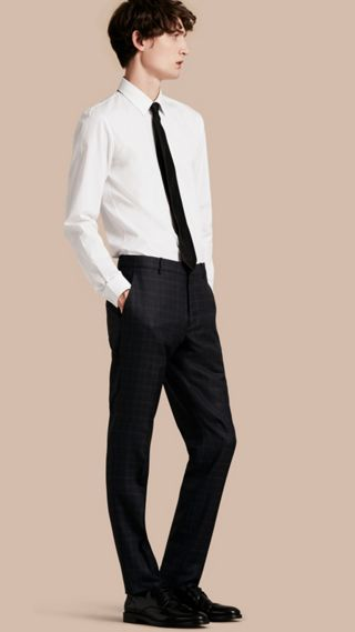 Slim Fit Check Wool Tailored Trousers