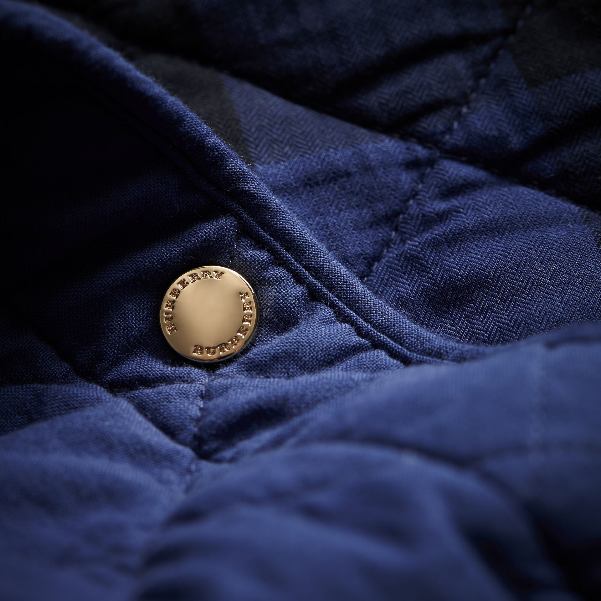 Scalloped Diamond Quilted Cotton Jacket in Indigo - Women | Burberry - gallery image 2
