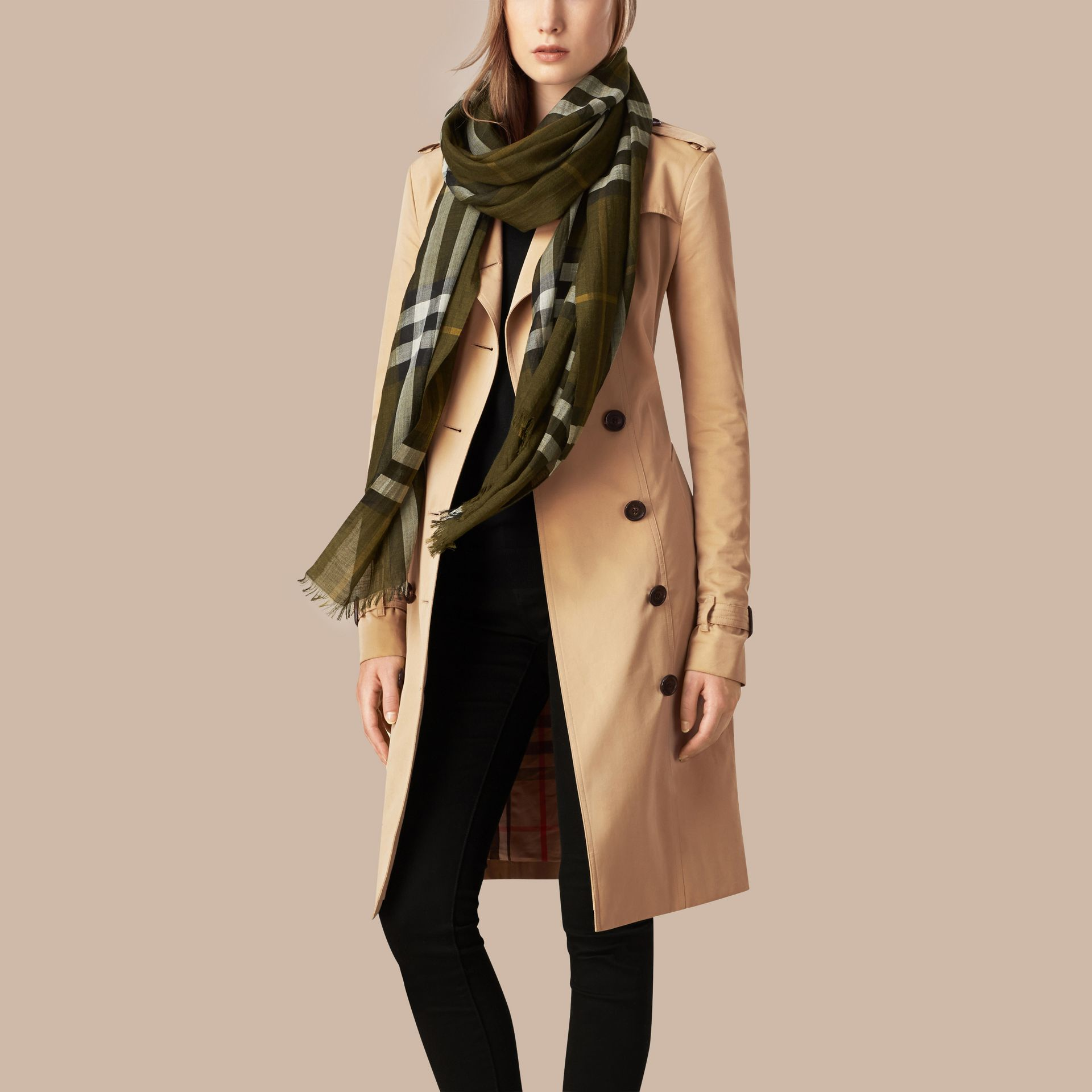 Olive green Lightweight Check Wool and Silk Scarf Olive Green - gallery image 3