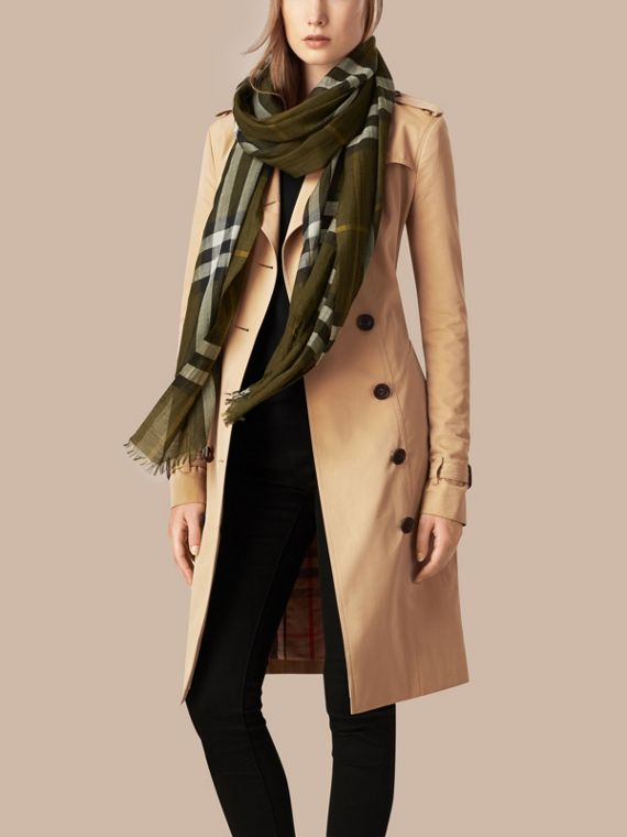Olive green Lightweight Check Wool and Silk Scarf Olive Green - cell image 2
