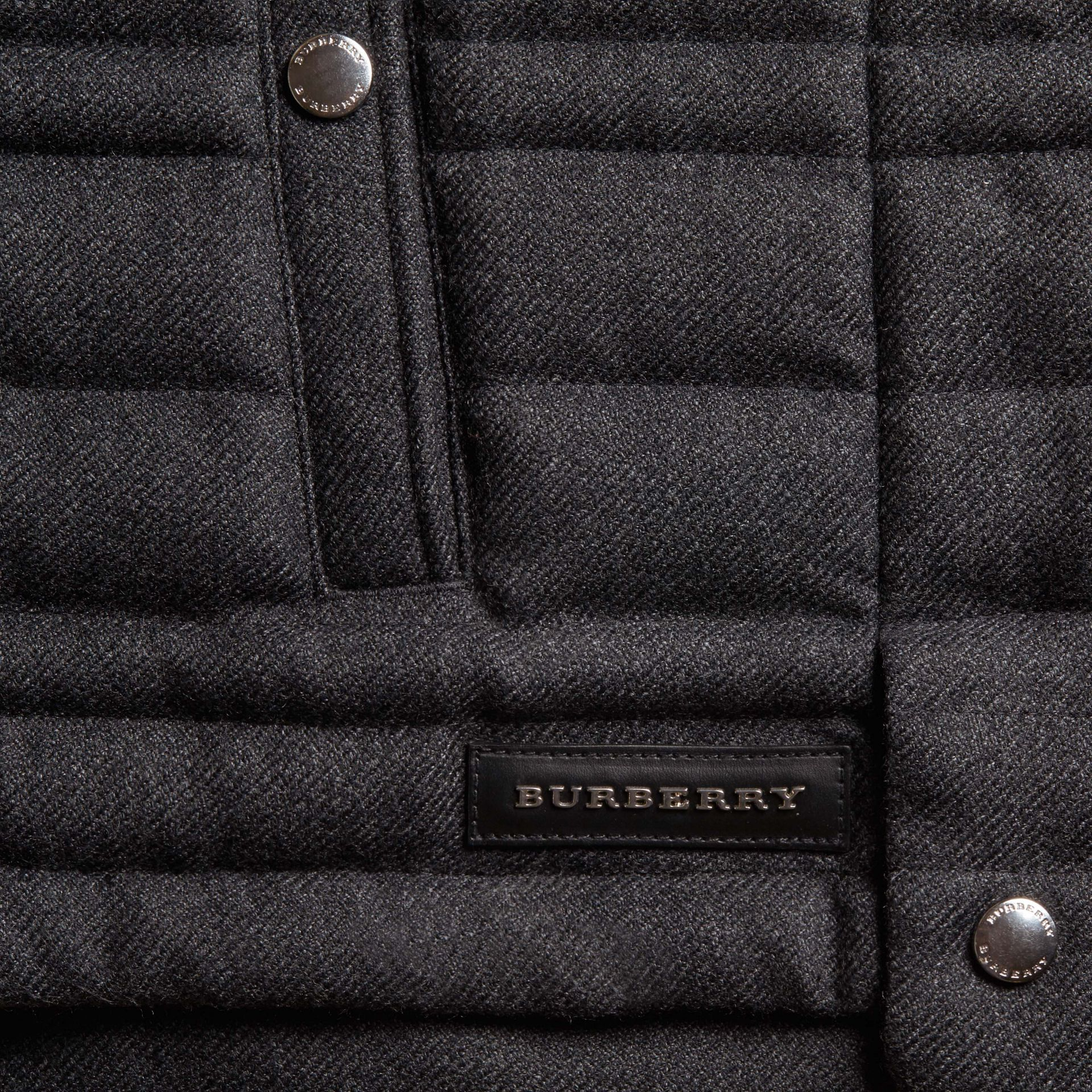 Dark grey melange Down-filled Wool Flannel Gilet - gallery image 2