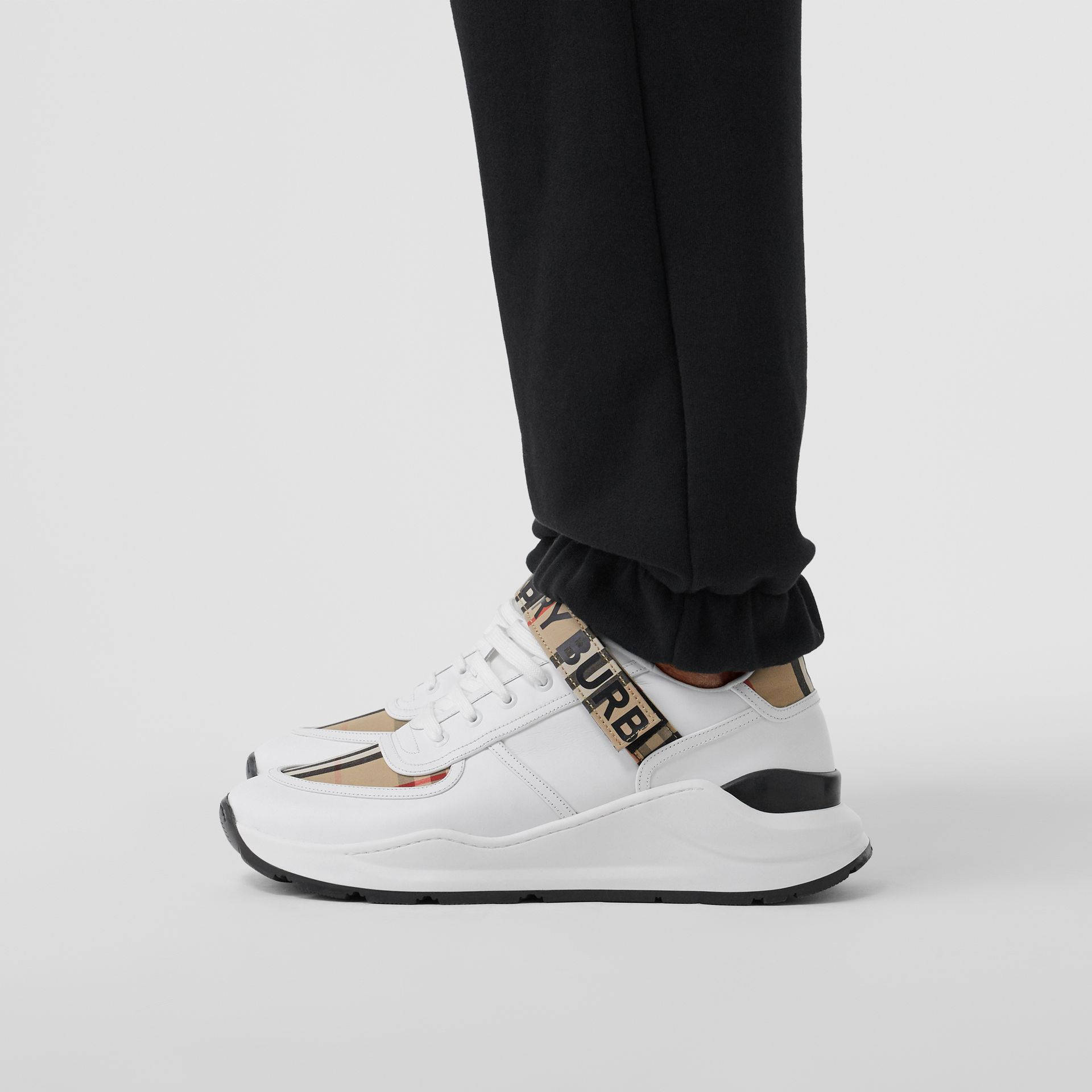 Logo Detail Leather and Vintage Check Sneakers in Archive Beige/white - Men | Burberry United Kingdom - gallery image 2