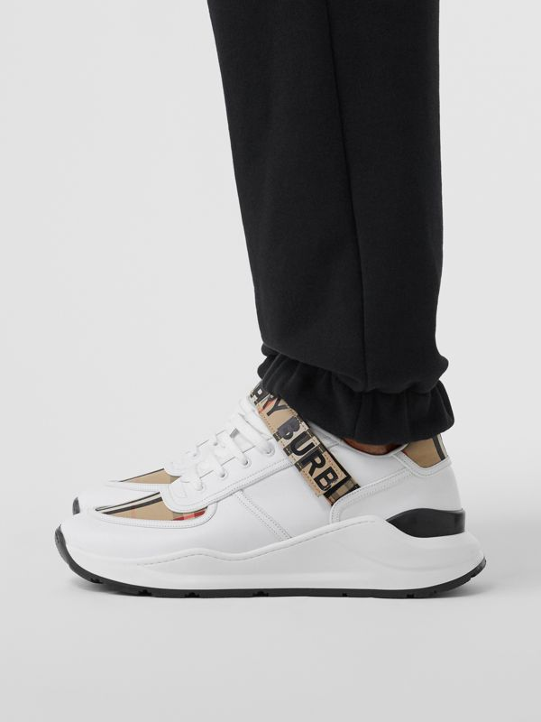 Logo Detail Leather and Vintage Check Sneakers in Archive Beige/white - Men | Burberry United Kingdom - cell image 2