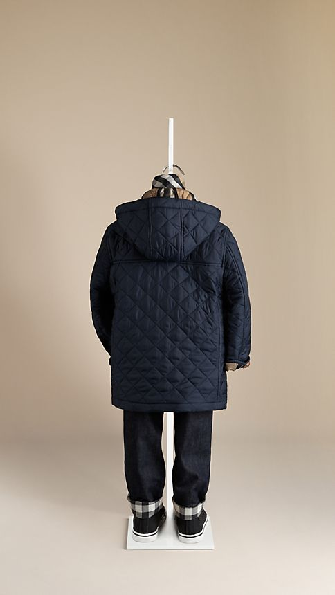 Navy Check Detail Diamond Quilted Jacket - Image 2