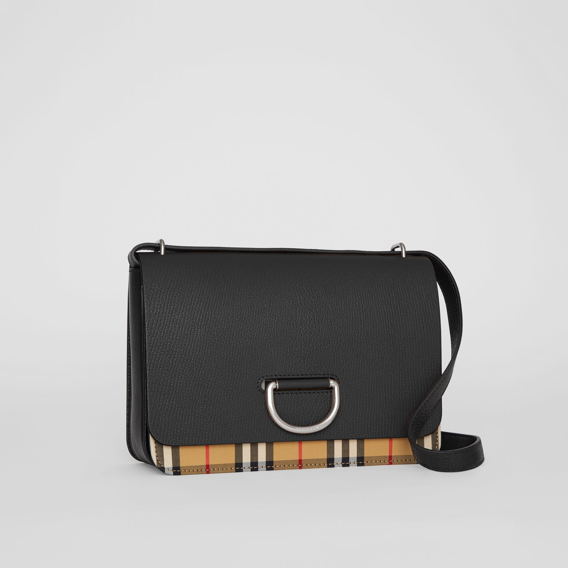 The Medium Vintage Check and Leather D-ring Bag in Black - Women | Burberry - gallery image 6