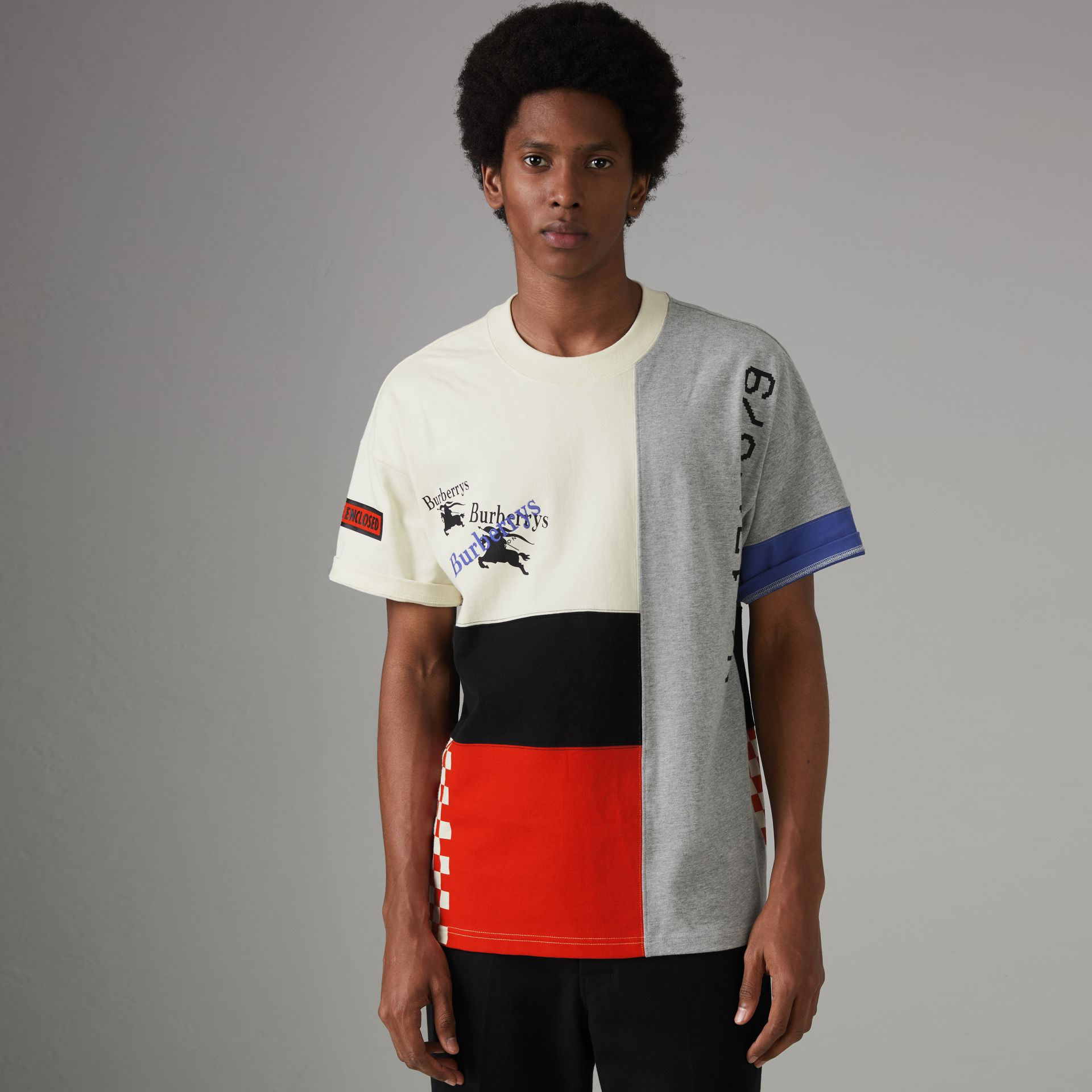 Archive Logo Panelled Cotton T-shirt in Natural White - Men | Burberry United Kingdom - gallery image 0