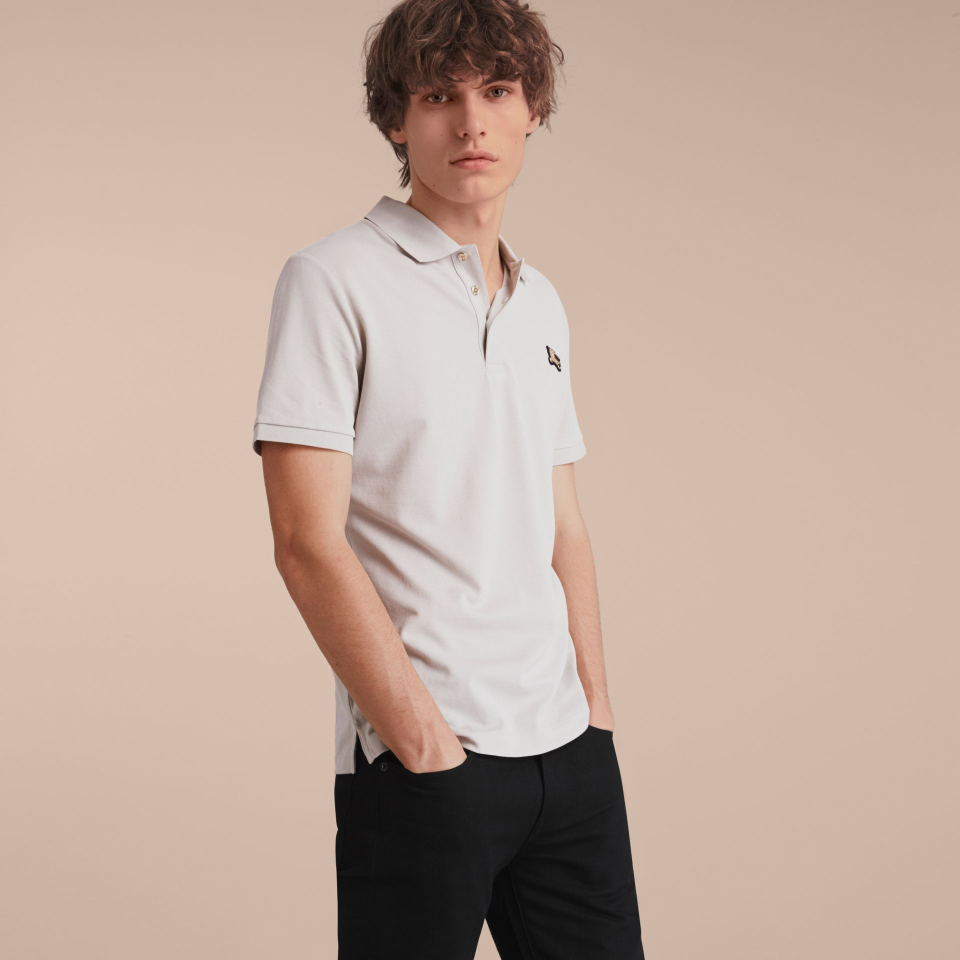 Fitted Mercerised Cotton-Piqué Polo Shirt Pale Stone - gallery image 6