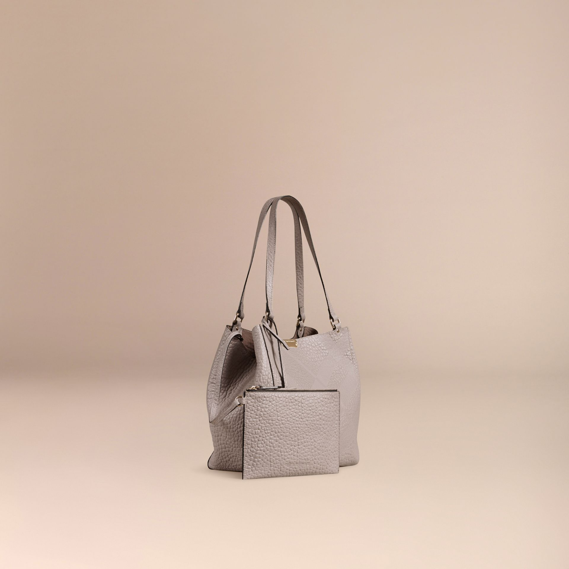 Pale grey The Small Canter in Check Embossed Leather Pale Grey - gallery image 7