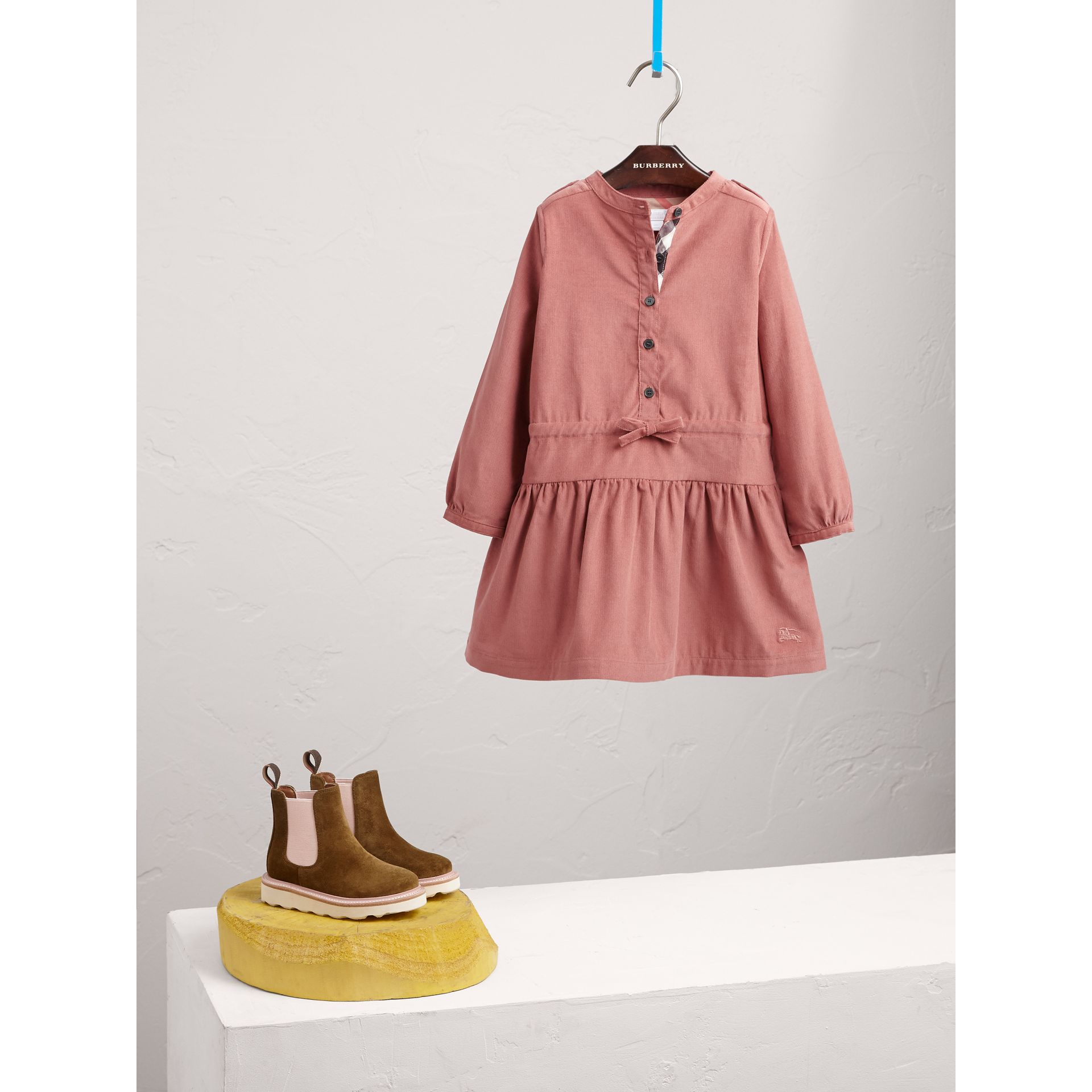 Gathered and Tie Waist Cotton Corduroy Dress in Rosewood - Girl | Burberry - gallery image 1