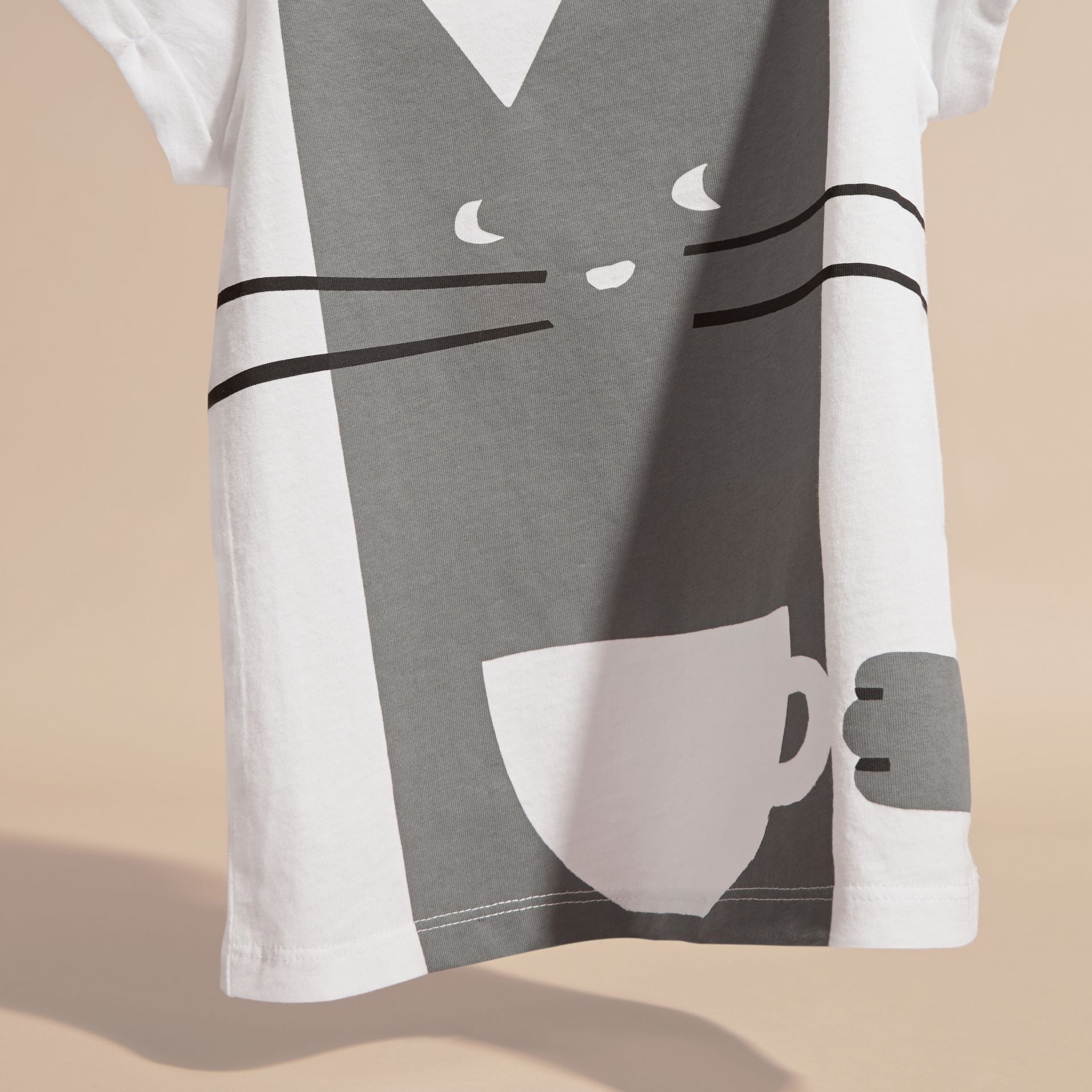 Storm grey Cat Graphic Print Cotton T-Shirt - gallery image 3
