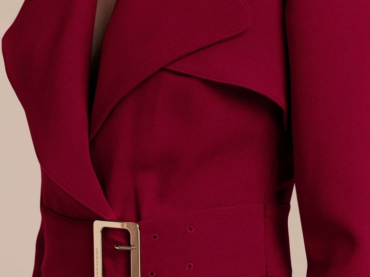 Garnet Buckle Detail Satin-back Crepe Trench Dress Garnet - cell image 4