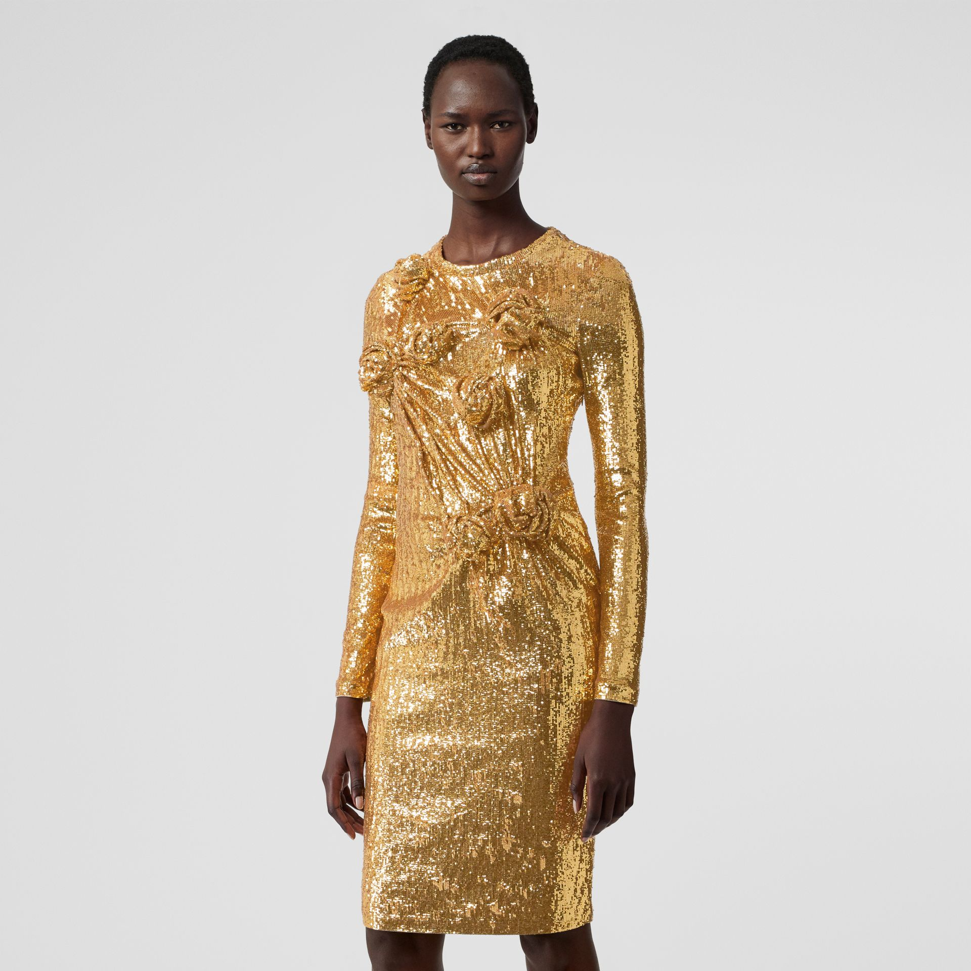 Hand-gathered Detail Sequinned Dress in Honey - Women | Burberry - gallery image 5