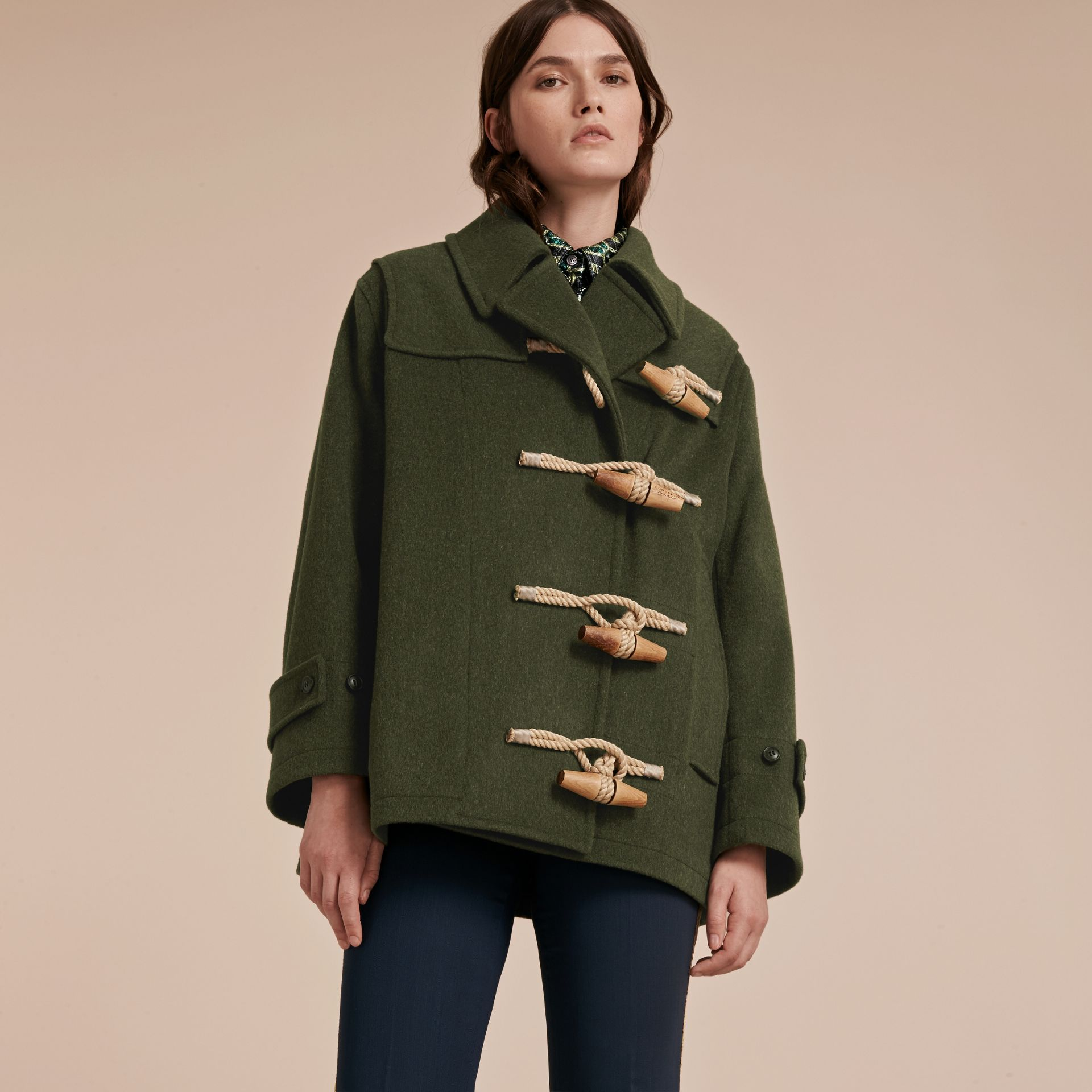 Moss green Military Wool Duffle Coat - gallery image 7