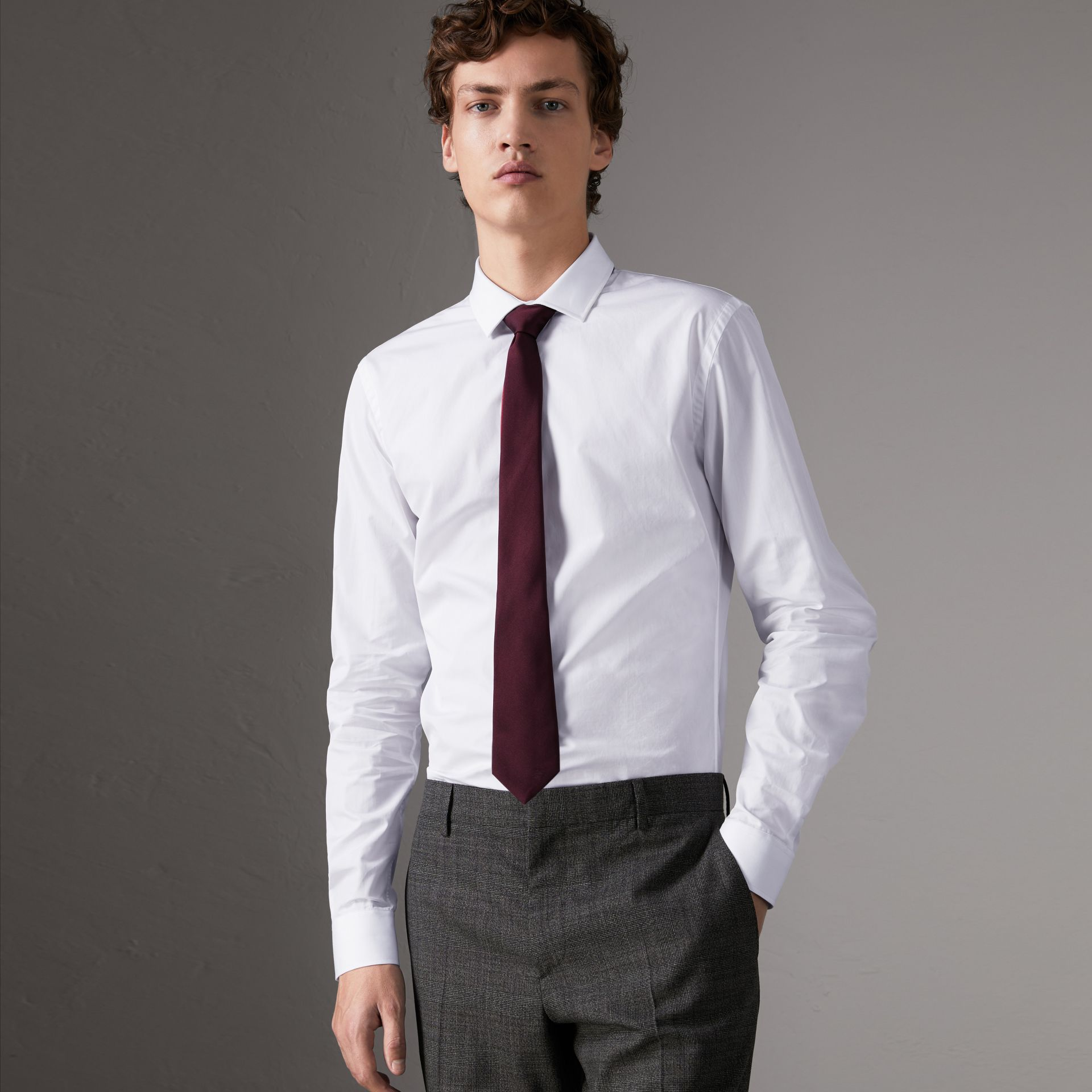 Slim Fit Cotton Poplin Shirt in White - Men | Burberry Singapore - gallery image 0