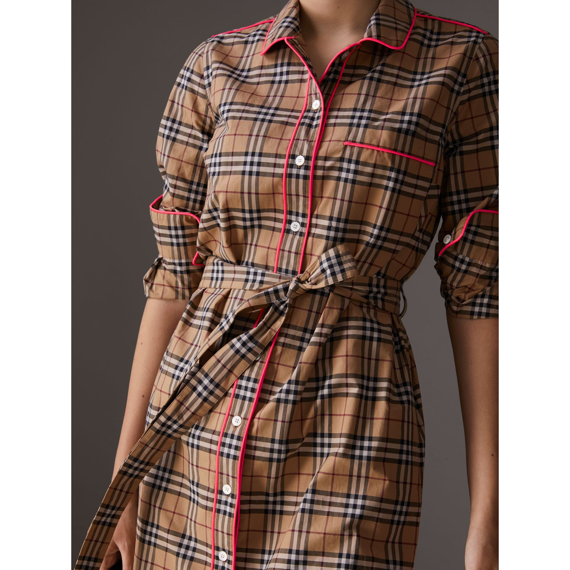 Contrast Piping Check Cotton Shirt Dress in Camel - Women | Burberry - gallery image 1