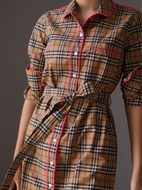 Contrast Piping Check Cotton Shirt Dress in Camel | Burberry - cell image 1