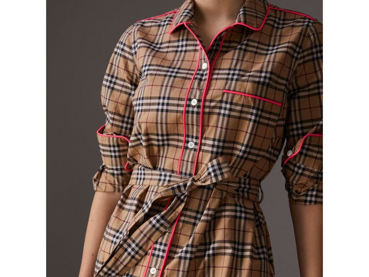Contrast Piping Check Cotton Shirt Dress in Camel - Women | Burberry - cell image 1