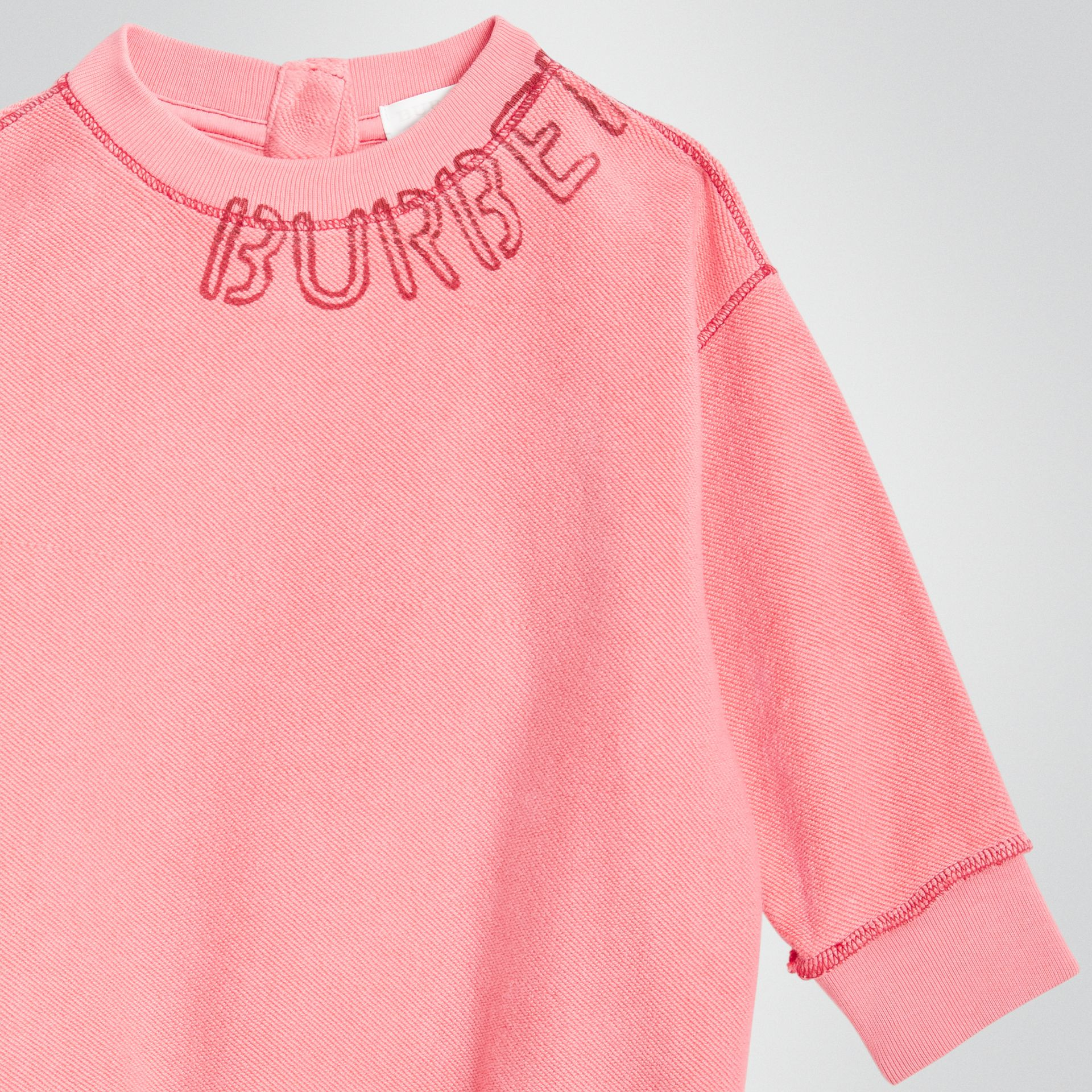 Stencil Logo Print Cotton Sweater Dress in Bright Pink - Children | Burberry - gallery image 4