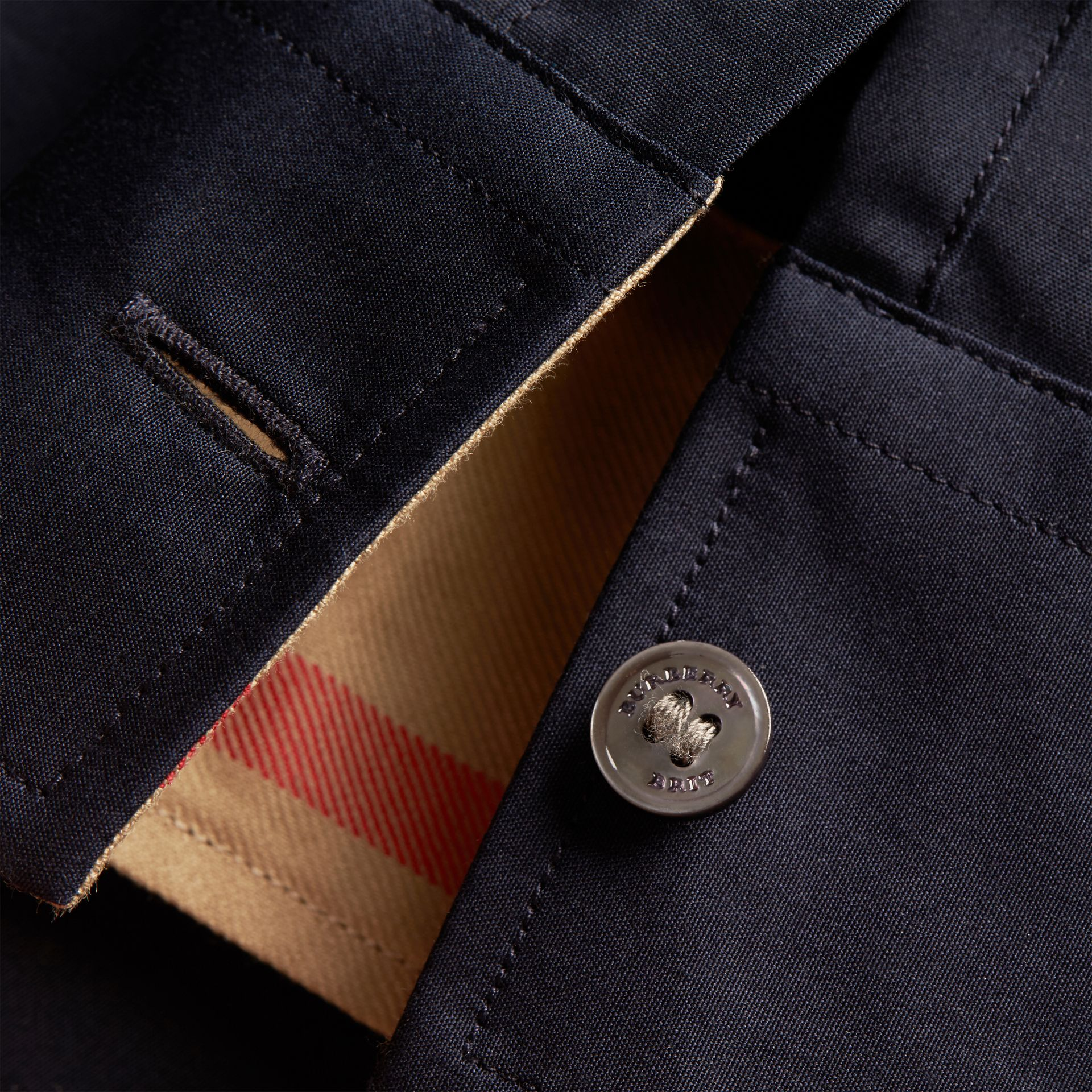 Check Detail Stretch Cotton Poplin Shirt in Navy - Men | Burberry Canada - gallery image 1