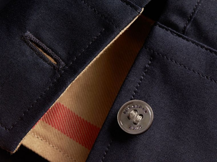 Check Detail Stretch Cotton Poplin Shirt in Navy - Men | Burberry Canada - cell image 1