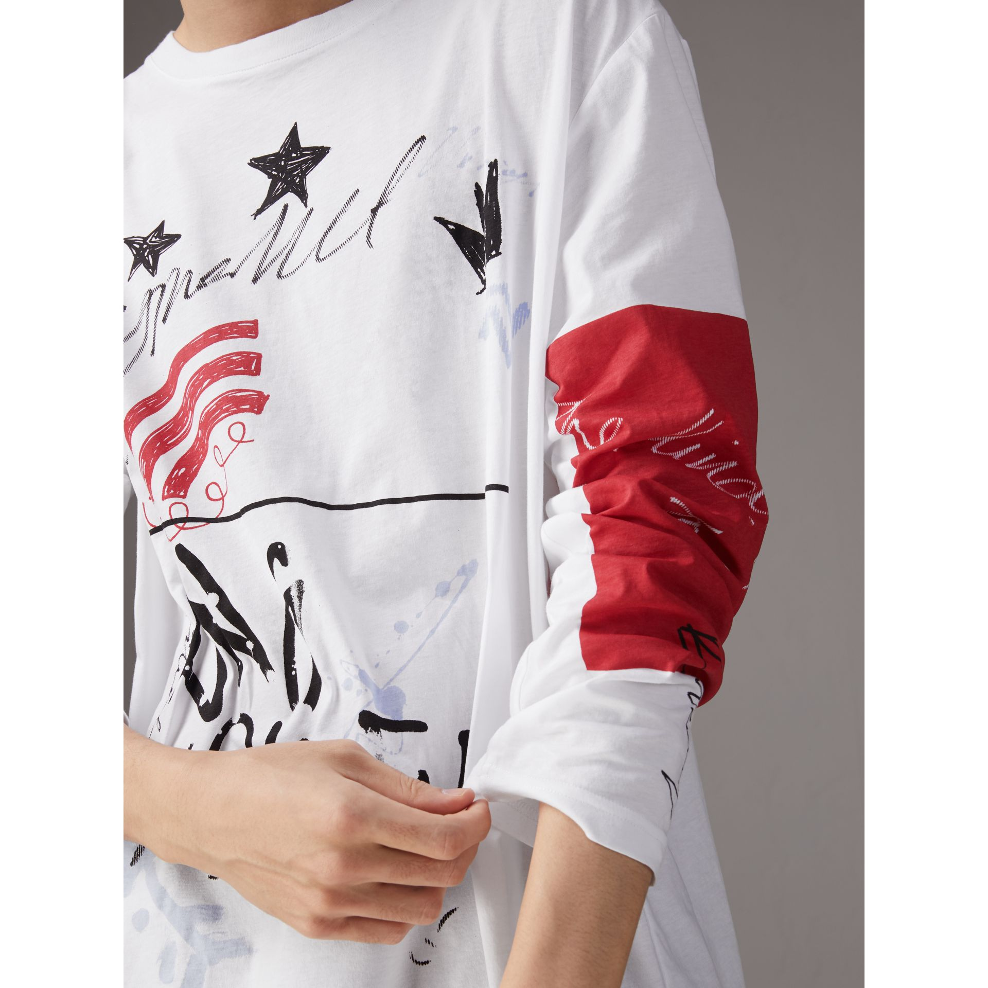 Burberry x Kris Wu Long-sleeve Printed Cotton Top in White - Men | Burberry Canada - gallery image 1