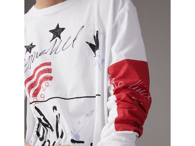 Burberry x Kris Wu Long-sleeve Printed Cotton Top in White - Men | Burberry United Kingdom - cell image 1