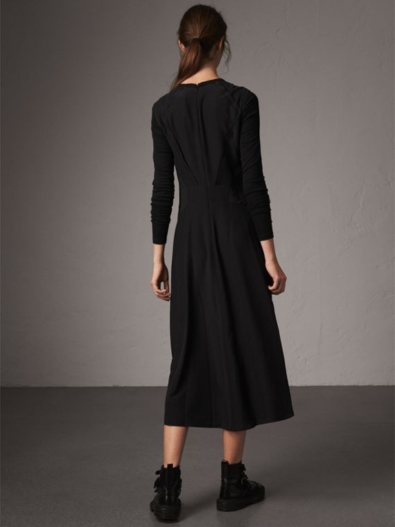 Long-sleeve Silk Gathered Dress in Black - Women | Burberry - cell image 2