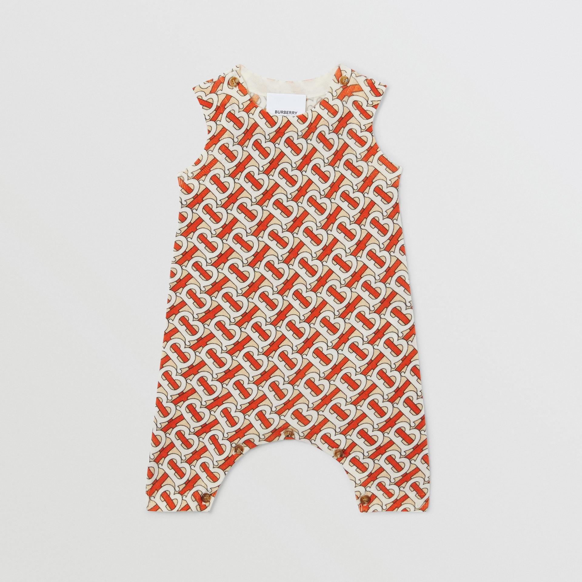 Monogram Print Merino Wool Two-piece Baby Gift Set in Vermilion - Children | Burberry - gallery image 3