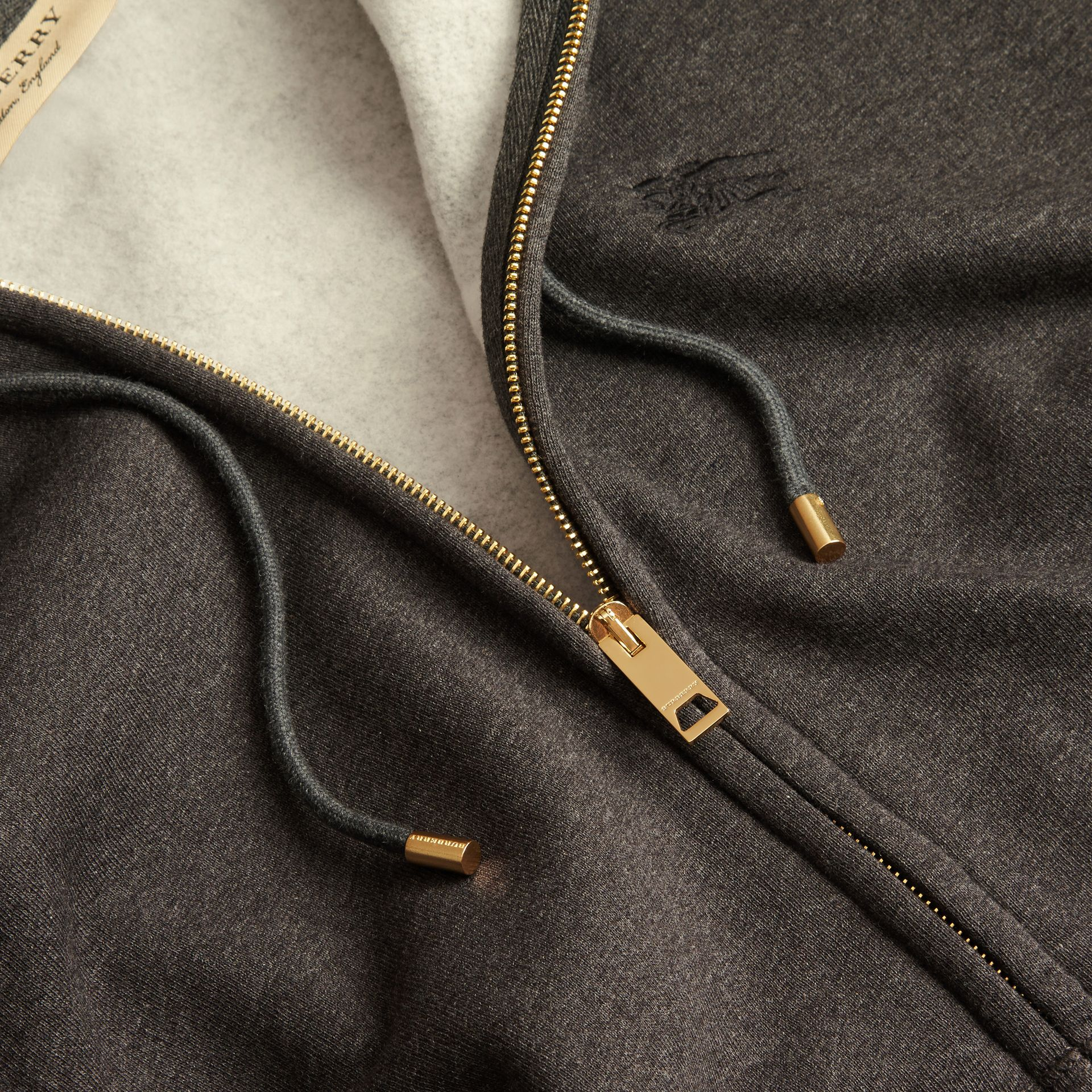 Charcoal melange Hooded Cotton Jersey Top Charcoal Melange - gallery image 2