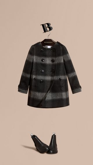 Check Wool Blend Collarless Coat