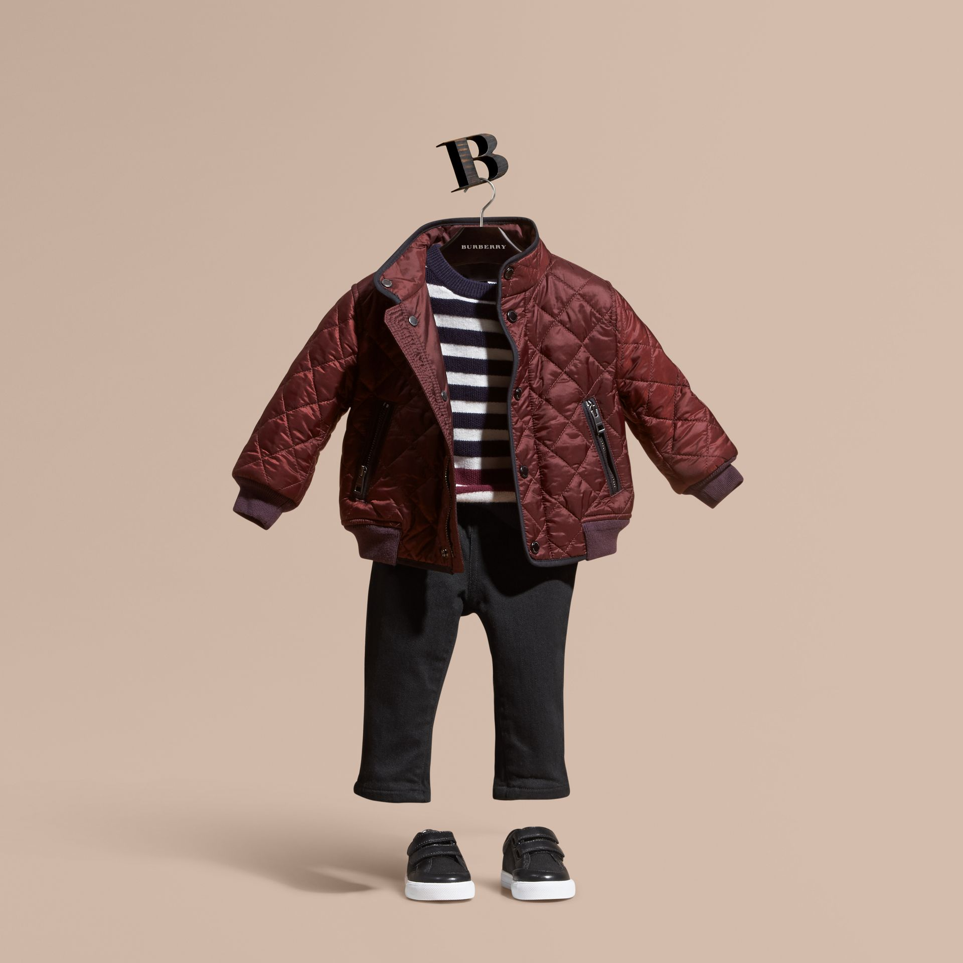 Deep burgundy Lightweight Quilted Bomber Jacket - gallery image 1