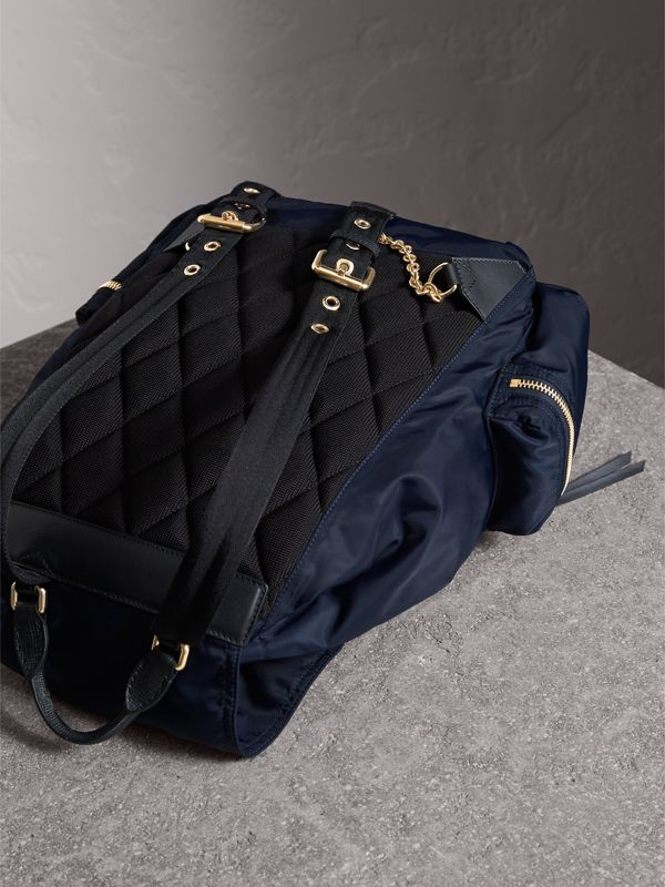 The Large Rucksack in Technical Nylon and Leather in Ink Blue - Women | Burberry - cell image 3