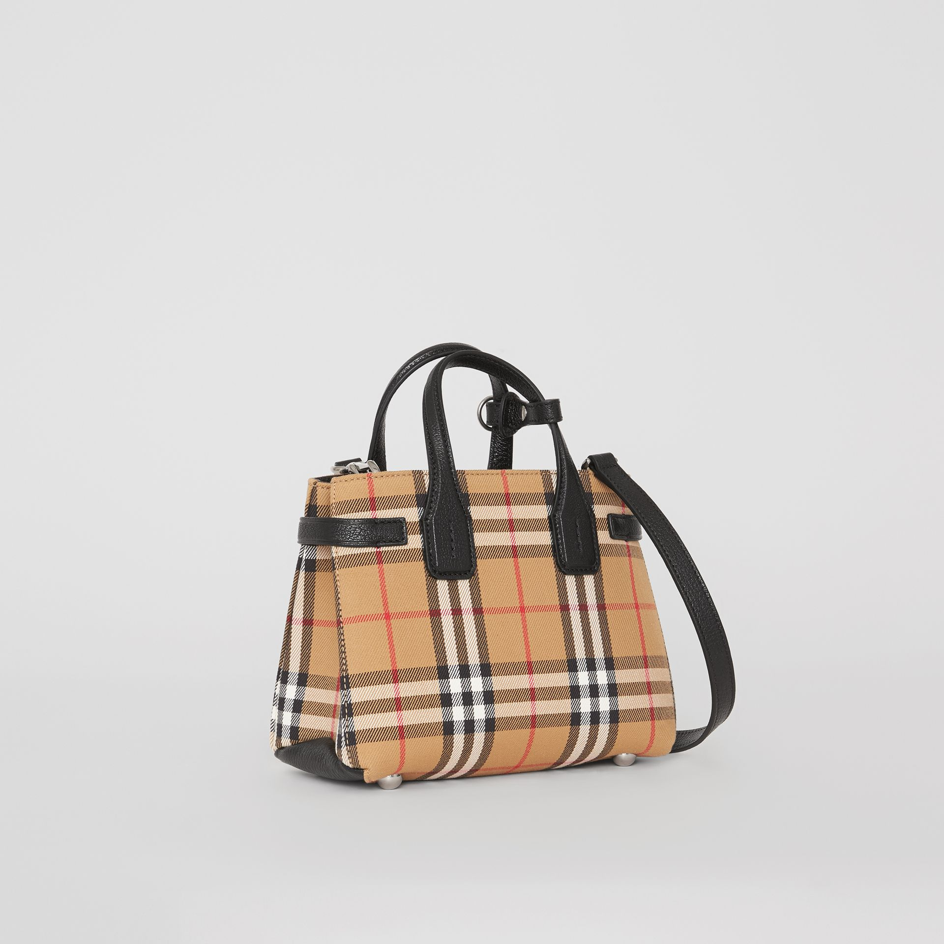 The Baby Banner in pelle con motivo Vintage check (Nero) - Donna | Burberry - immagine della galleria 4