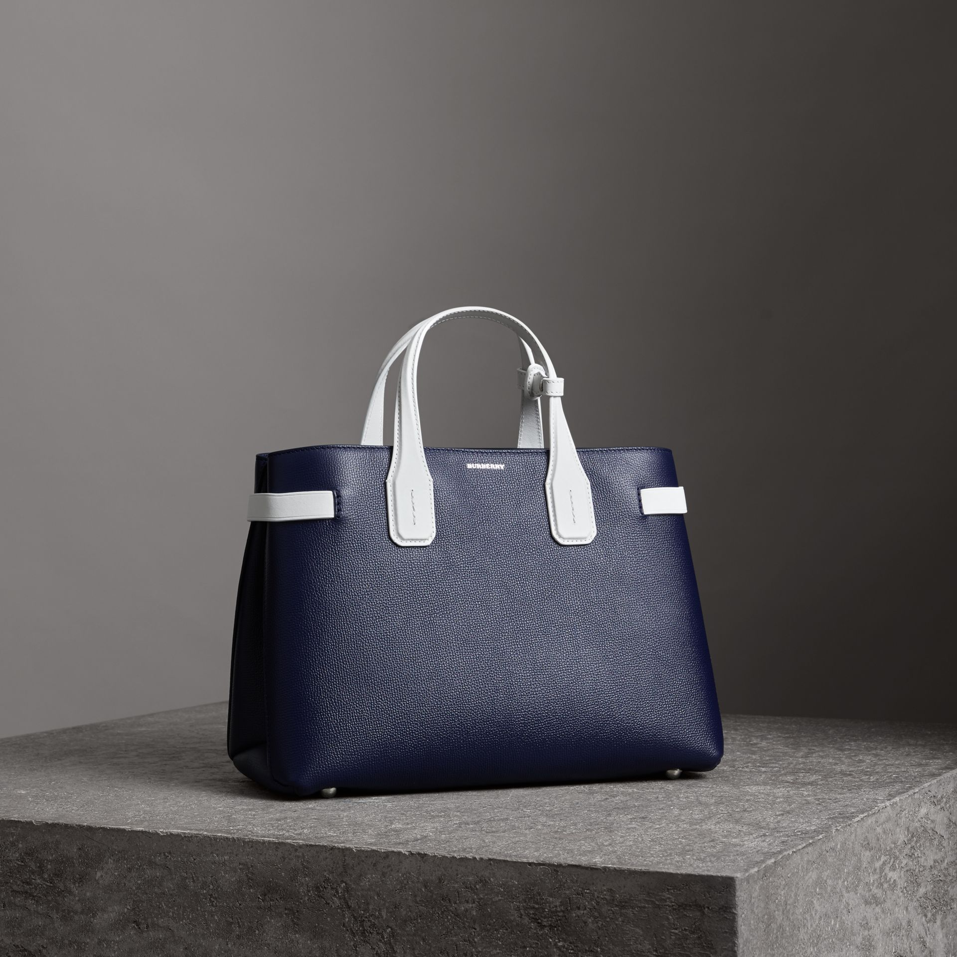 The Medium Banner in Two-tone Leather in Regency Blue/chalk White - Women | Burberry - gallery image 0