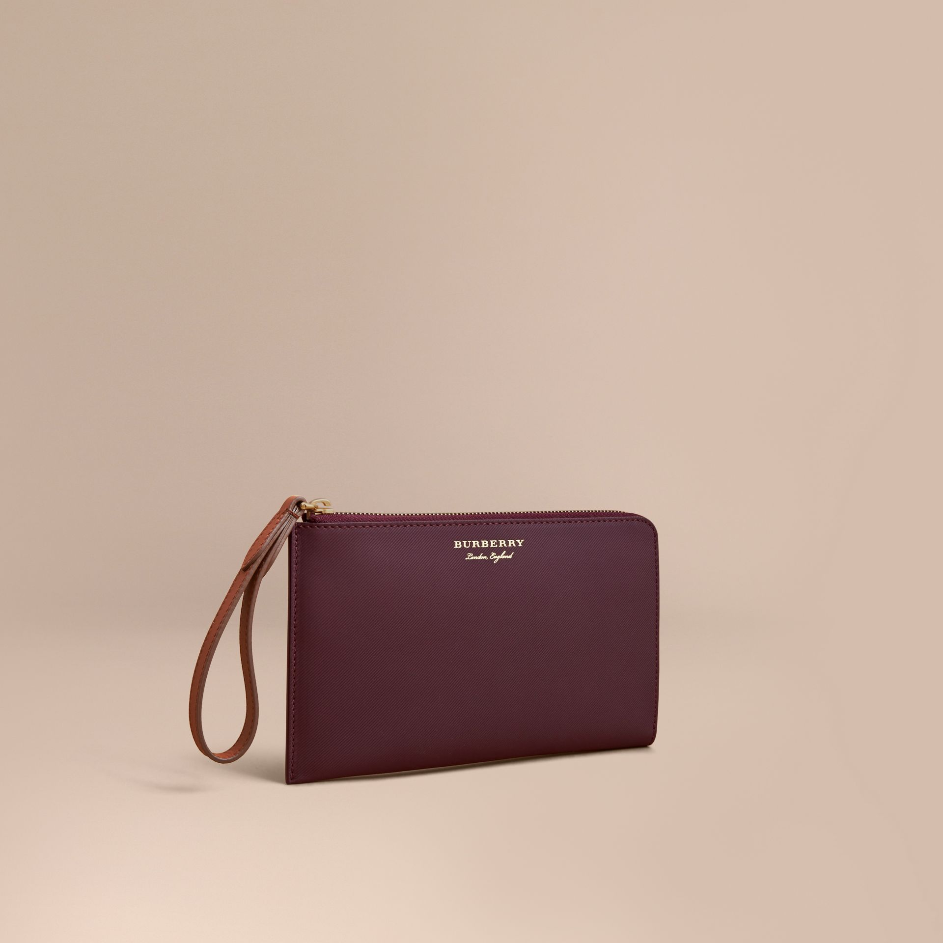 Two-tone Trench Leather Travel Wallet in Wine - Men | Burberry Hong Kong - gallery image 1