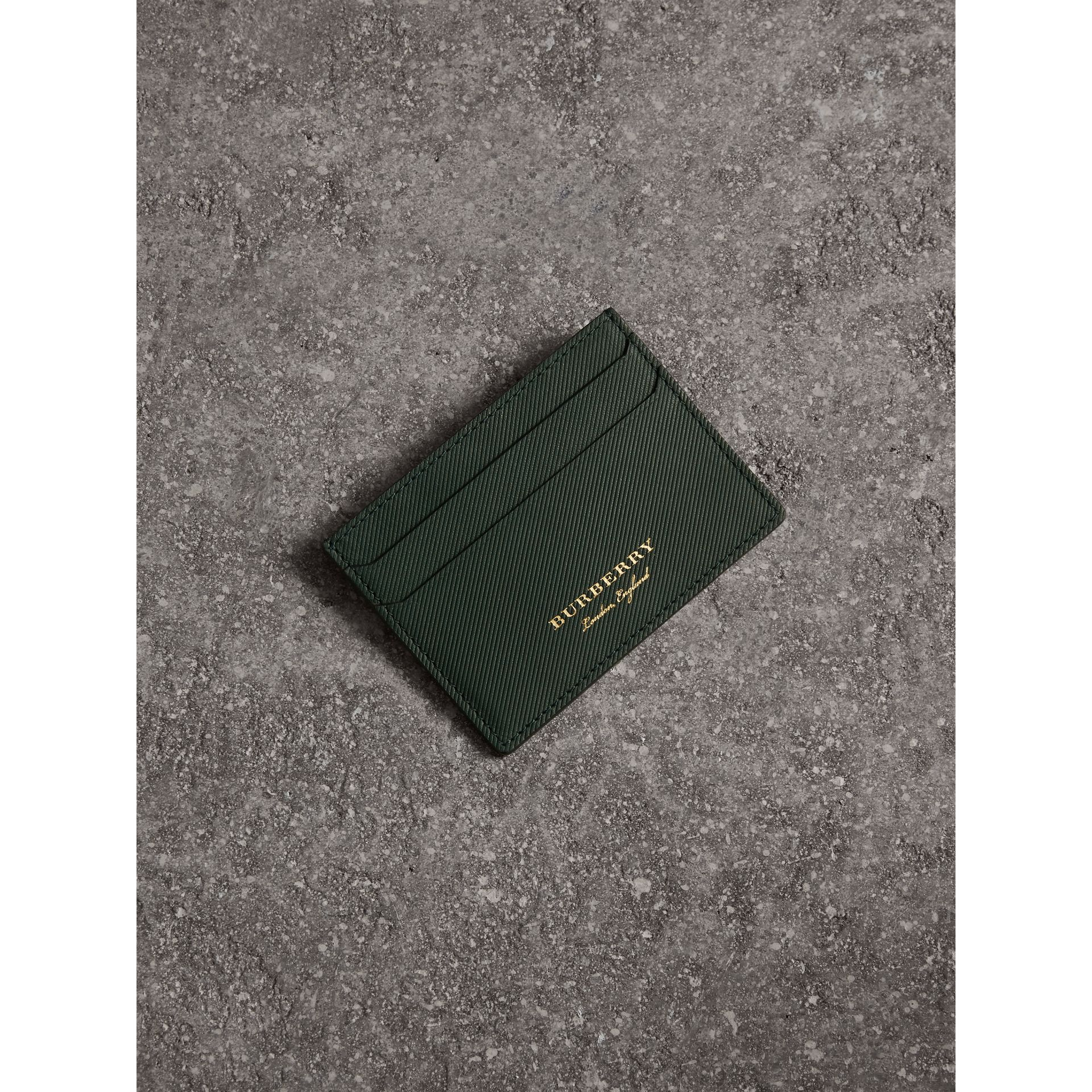 Trench Leather Card Case in Dark Forest Green | Burberry Hong Kong - gallery image 1