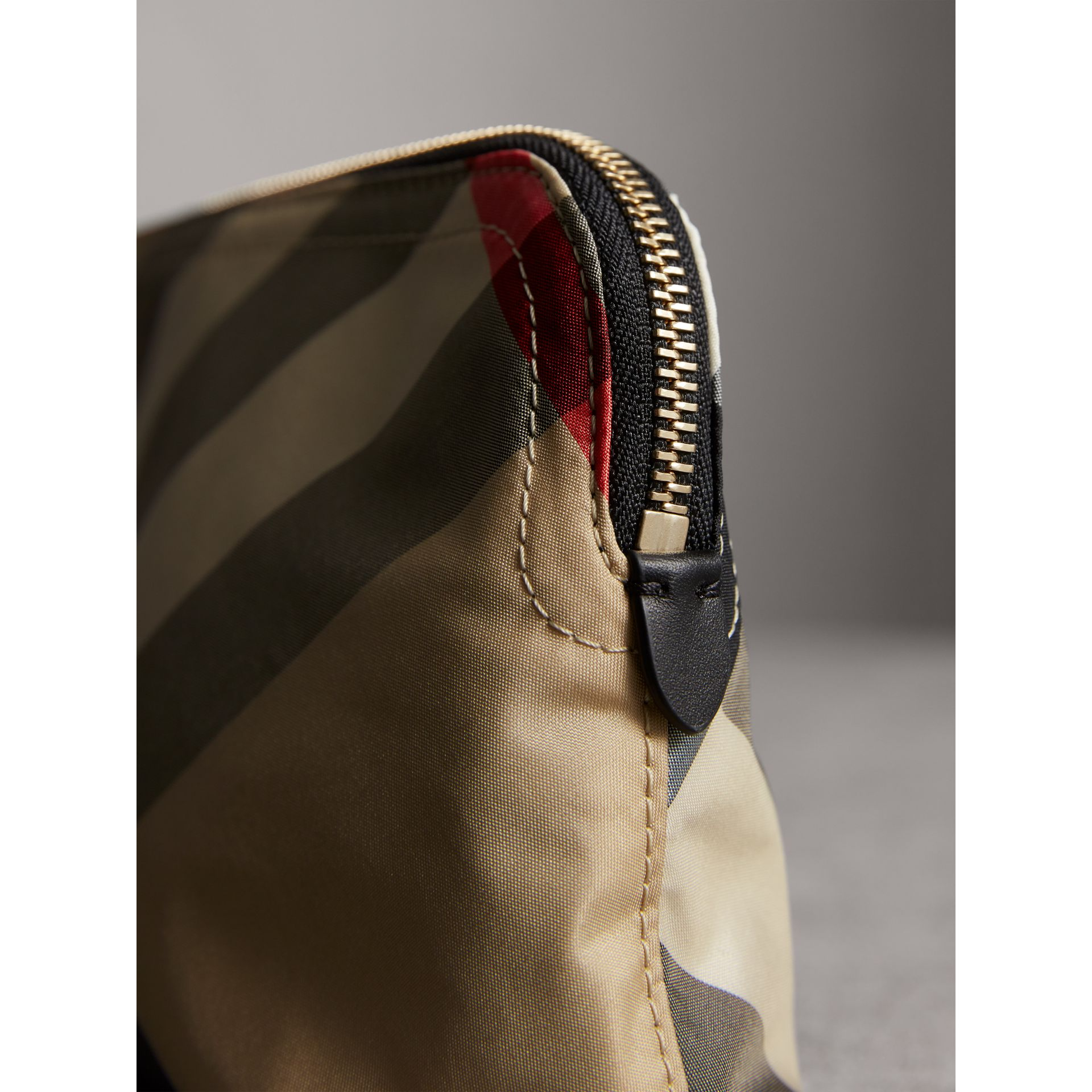 Medium Zip-top Check Technical Pouch in Camel - Women | Burberry - gallery image 5