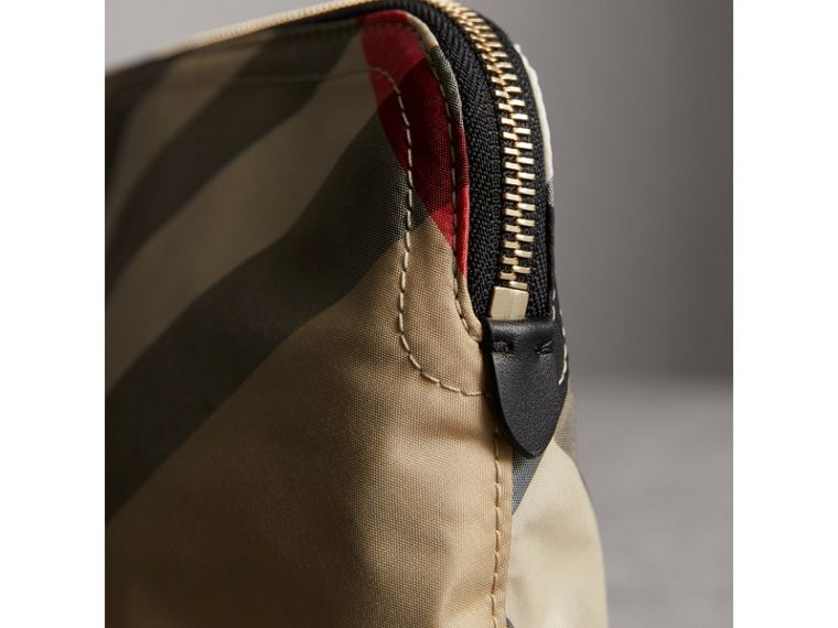 Medium Zip-top Check Technical Pouch in Camel - Women | Burberry - cell image 4