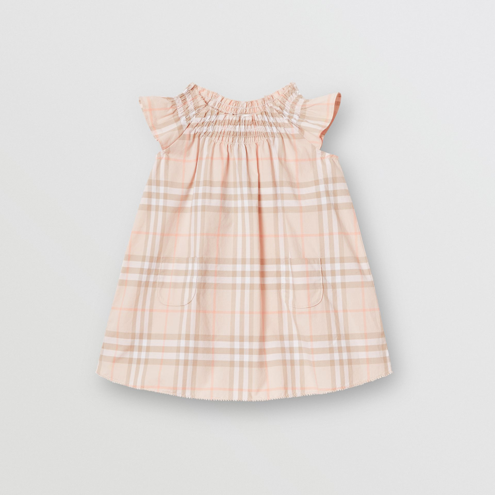 Smocked Vintage Check Cotton Dress in Pale Pink Apricot - Children | Burberry United States - gallery image 0