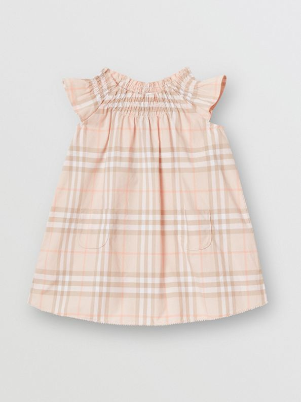 Smocked Vintage Check Cotton Dress in Pale Pink Apricot
