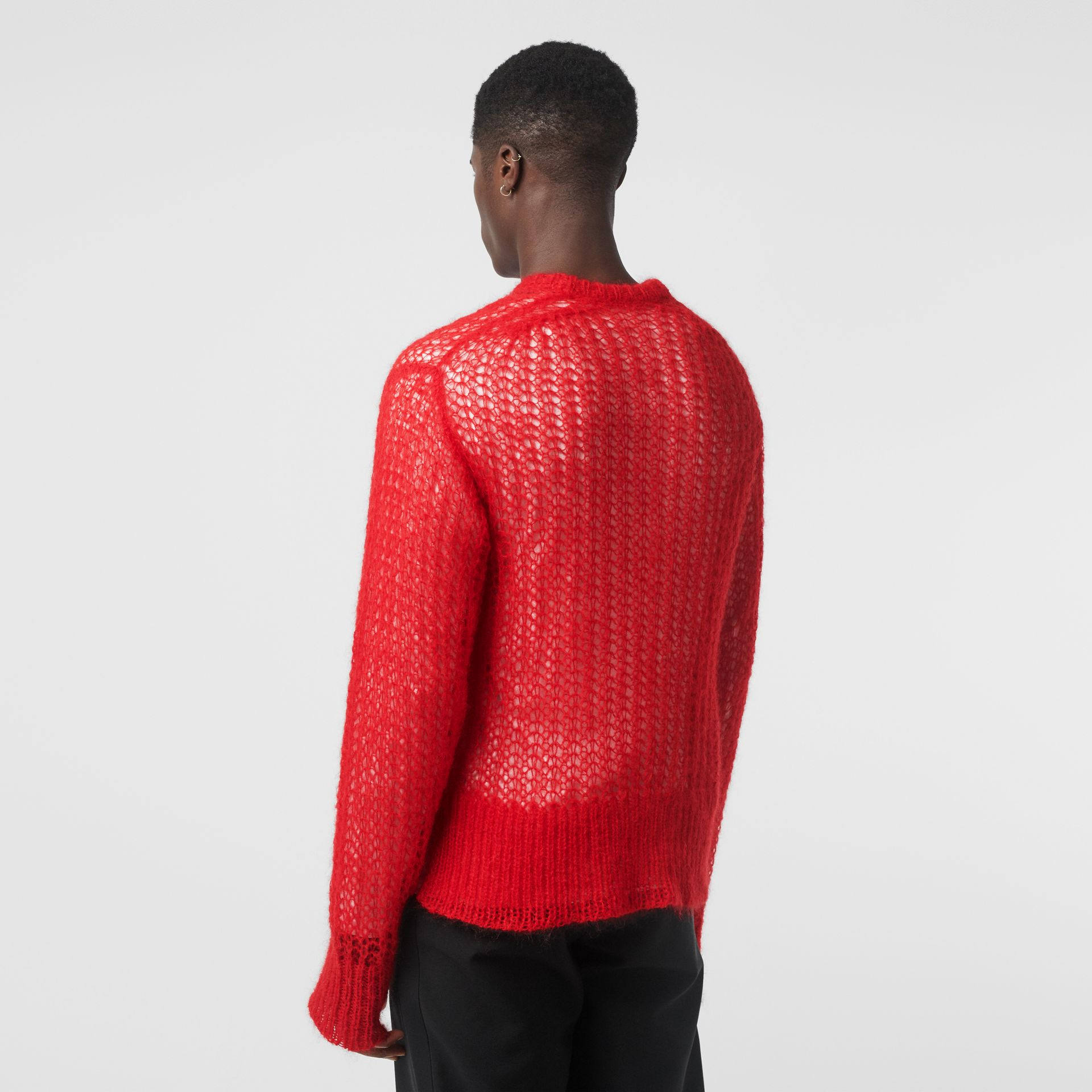 Open Knit Mohair Wool Blend Sweater in Bright Red - Men | Burberry Australia - gallery image 2