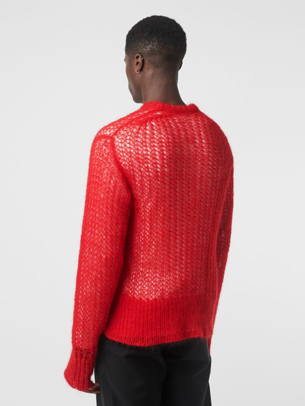 Open Knit Mohair Wool Blend Sweater in Bright Red - Men | Burberry - cell image 2