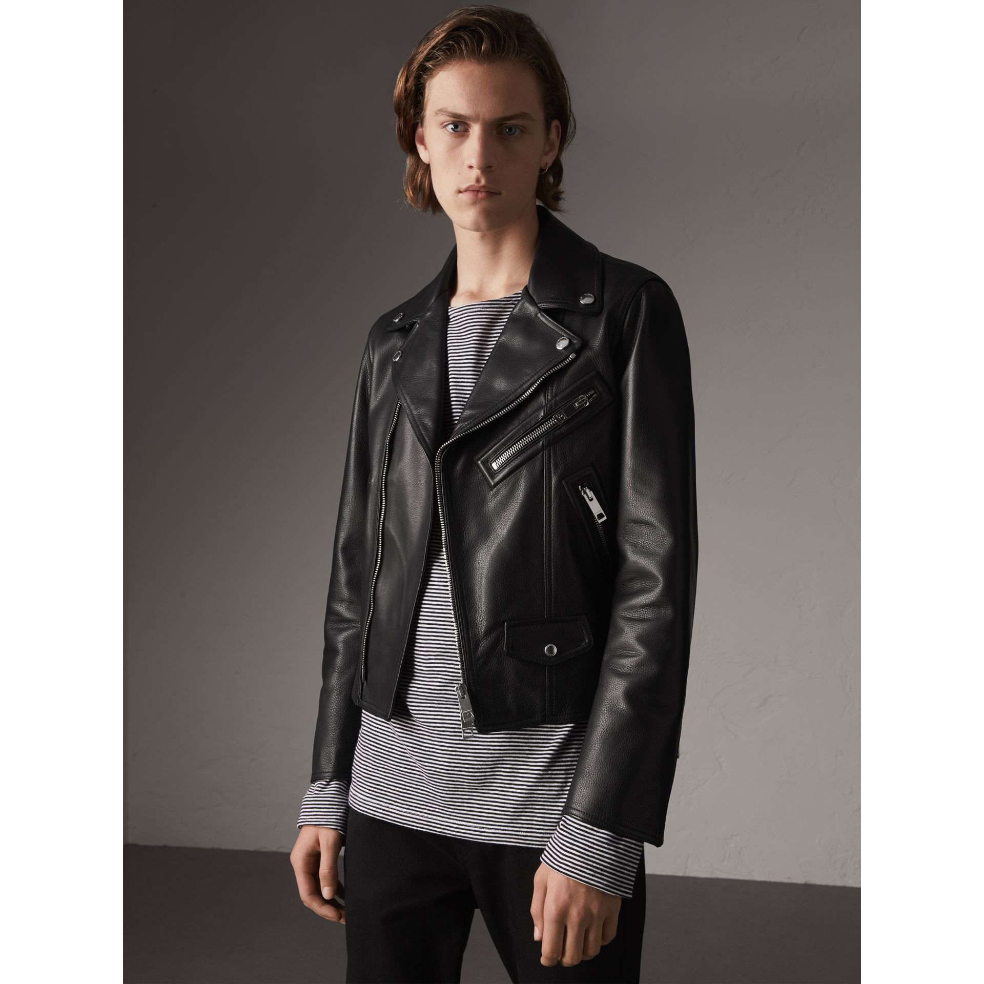 Leather Biker Jacket in Black - Men | Burberry Singapore - gallery image 1